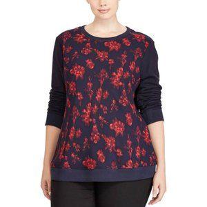 Ralph Lauren Rudko Georgette Floral Sweatshirt 3X